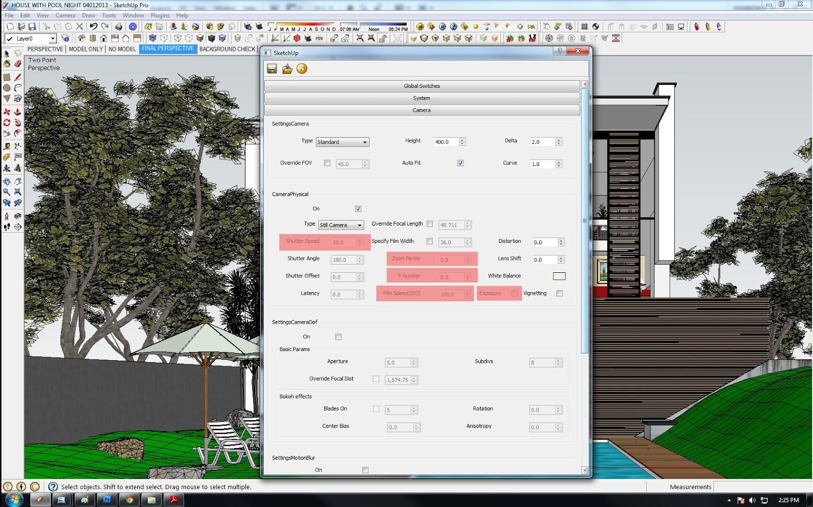 vray sketchup 2017 exterior render settings