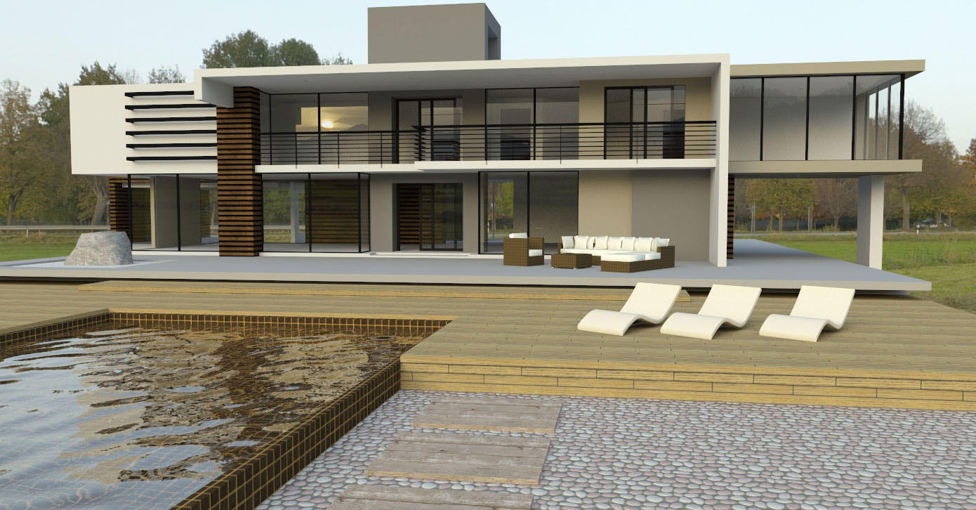 Generate a high quality rendering with your sketchup model for Modern house sketchup