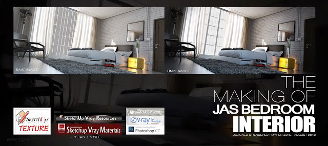 The making of Jas bedroom with Sketchup