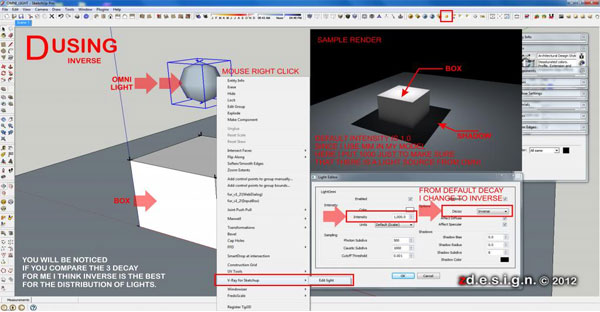 How to manage intensity and shadows using Omni Lights in Vray for