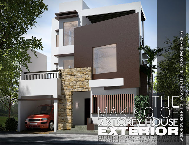 The making of 3 storey house exterior