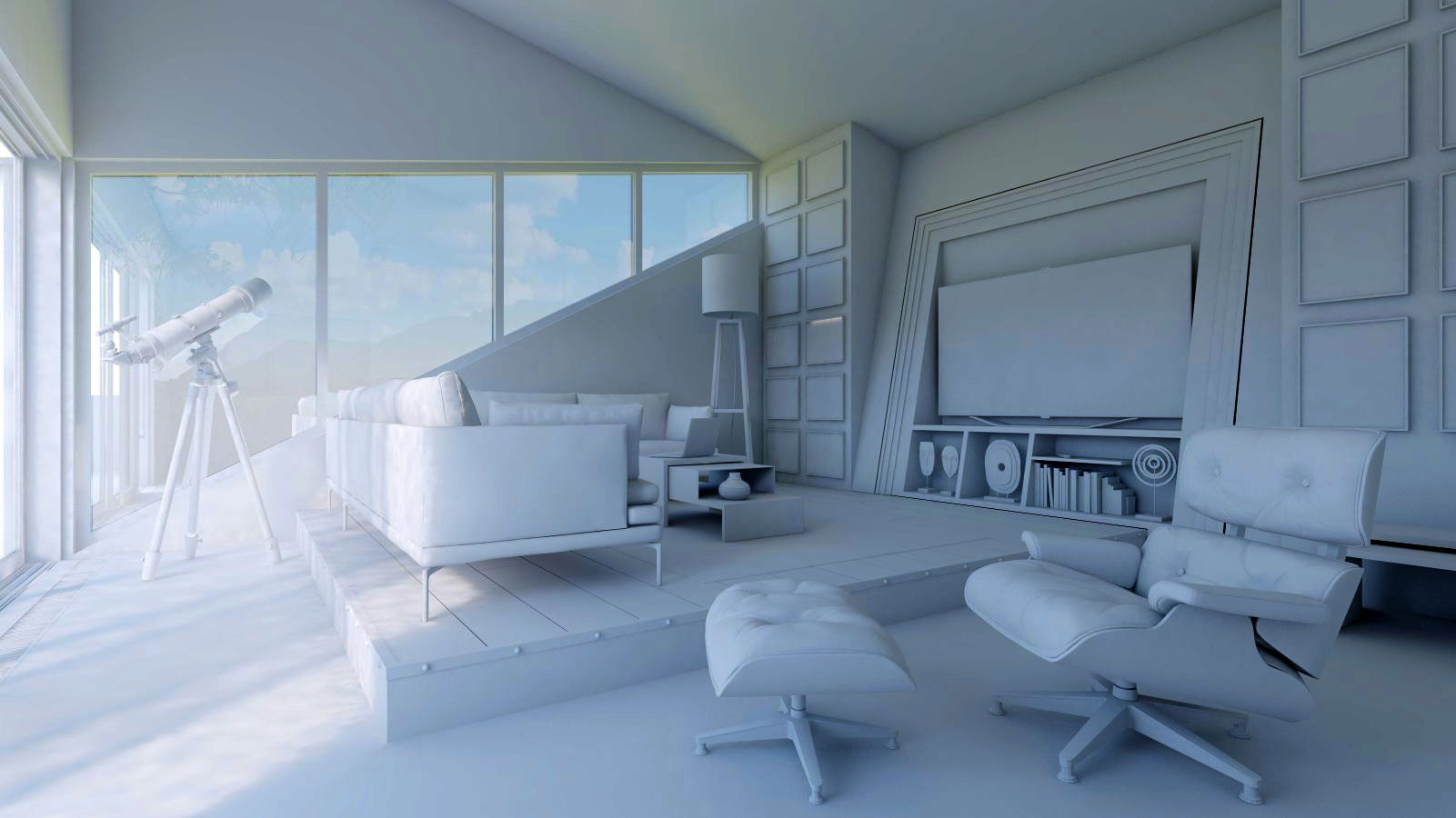 Interior design of a living room with sketchup sketchup for Interior decoration tutorial
