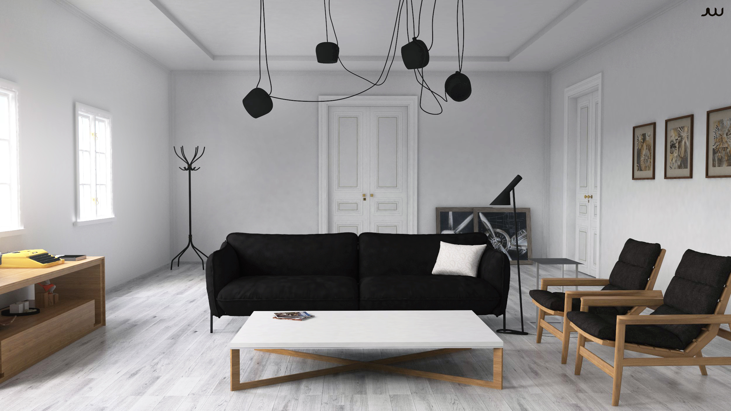 of scandinavian interior with Sketchup, Vray and Photoshop