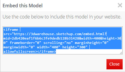 How to Embed Sketchup Models from the 3d Warehouse into your portfolio site