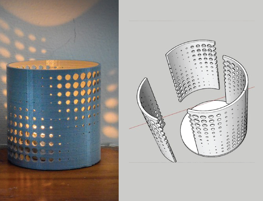 Making a Candle Holder with Patterned Panel and Bending Extension in SketchUp