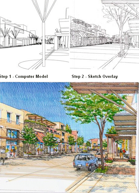 Hand drawn perspectives from a computer model