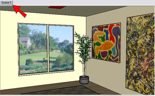 SketchUp window is a tab with Scene 1